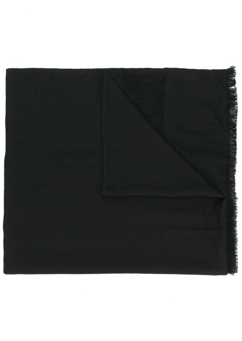 Saint Laurent oversized logo fringed scarf