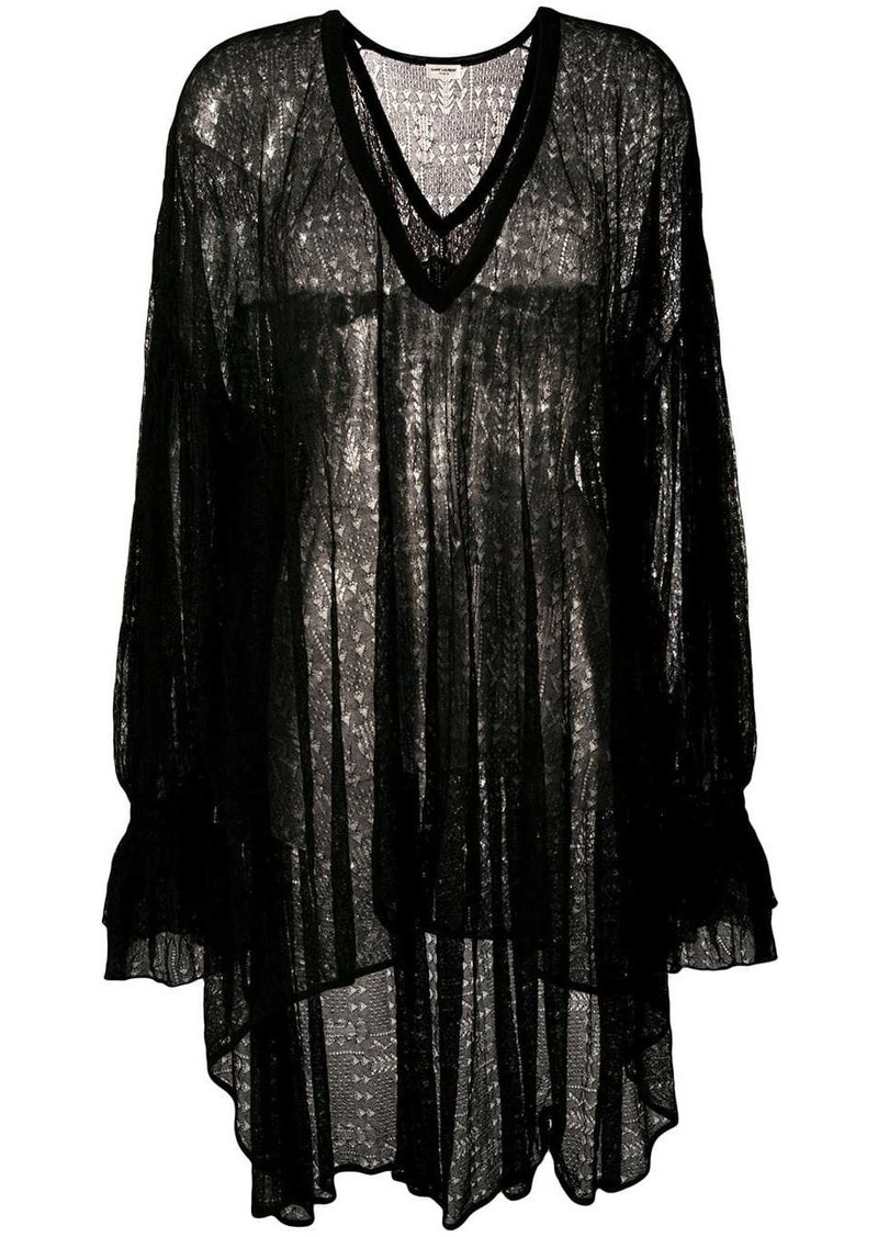 Saint Laurent oversized sheer blouse