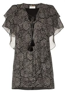Saint Laurent paisley print ruffle silk mini dress