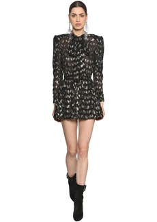 Saint Laurent Paisley Silk Crepe Dress W/ Lurex Detail