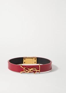 Saint Laurent Patent-leather And Gold-tone Bracelet