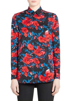 Saint Laurent Peony Print Jacquard Button-Down Shirt