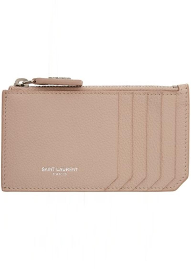Saint Laurent Pink Fragment Zipped Card Holder