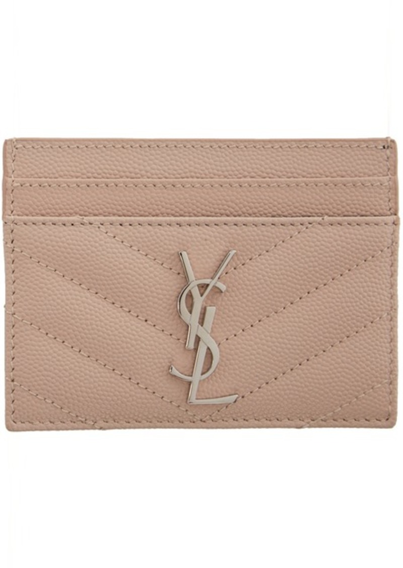 Saint Laurent Pink Monogramme Card Holder