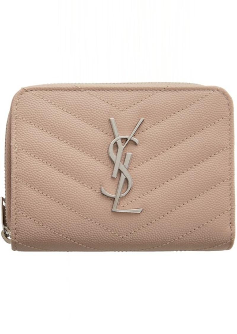 Saint Laurent Pink Monogramme Compact Zip Around Wallet