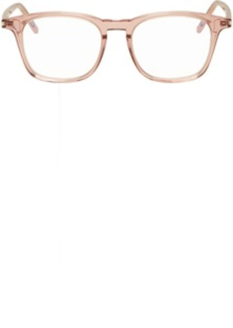 Saint Laurent Pink Transparent Square Crystal Glasses