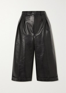 Saint Laurent Pleated Leather Shorts