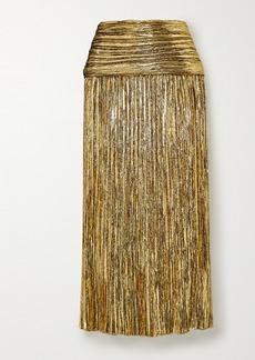 Saint Laurent Pleated Lurex Midi Skirt