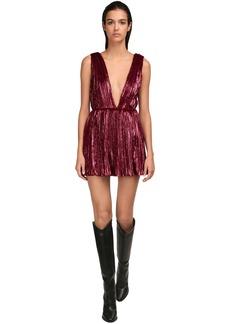 Saint Laurent Pleated Velour Mini Dress