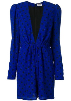 Saint Laurent polka dot mini plunge dress