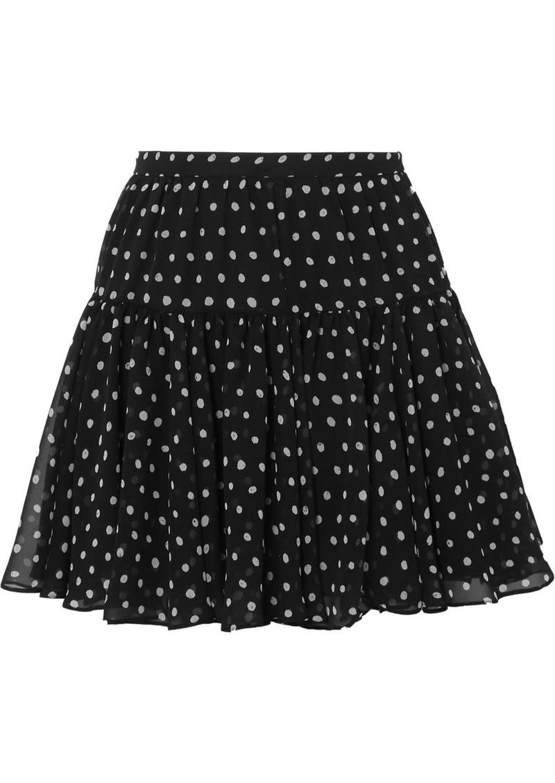 Saint Laurent Polka-dot Silk-georgette Mini Skirt