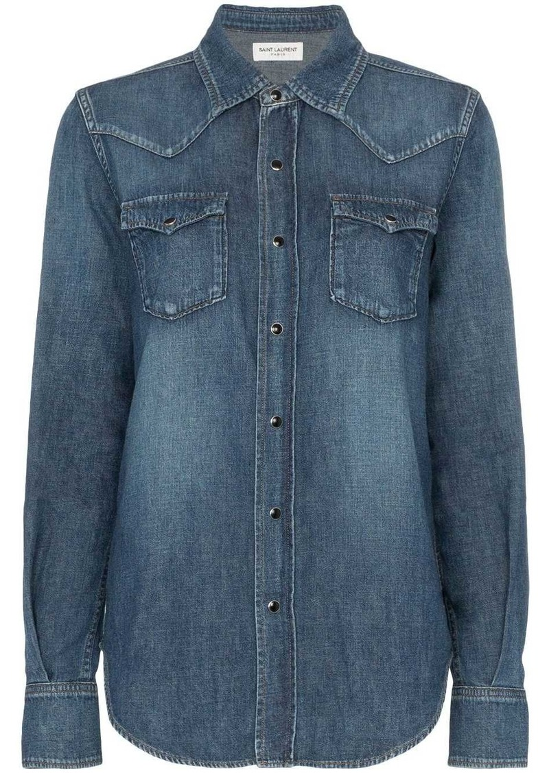 Saint Laurent popper button envelope pocket denim shirt