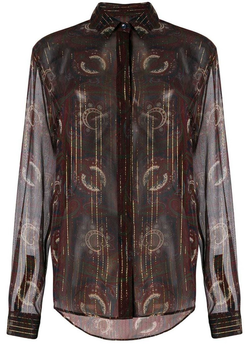 Saint Laurent printed concealed-front shirt