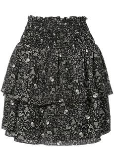 Saint Laurent printed ruffle trim mini skirt
