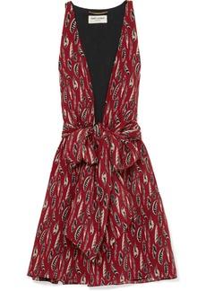 Saint Laurent Printed Silk Crepe De Chine Mini Dress
