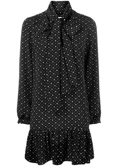 Saint Laurent pussy bow heart print dress