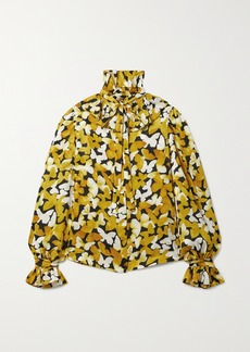 Saint Laurent Pussy-bow Ruffled Silk-satin Jacquard Blouse