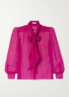 Saint Laurent Pussy-bow Silk-chiffon Blouse