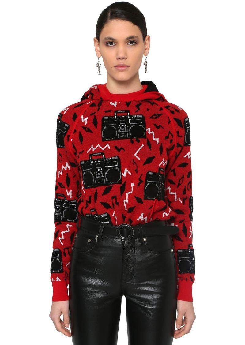 Saint Laurent Radio Intarsia Hooded Wool Blend Sweater