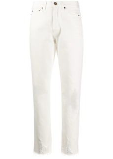 Saint Laurent Raw-edge straight-leg jeans