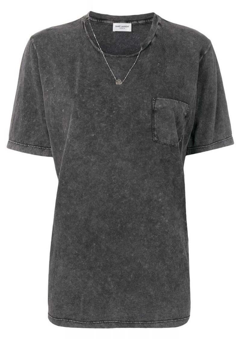 Saint Laurent raw round neckline T-shirt