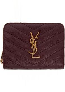 Saint Laurent Red Small Compact Zip Around Wallet
