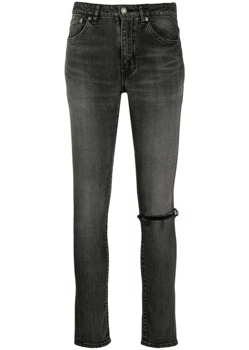 Saint Laurent ripped knee skinny jeans
