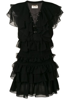 Saint Laurent ruffle mini dress