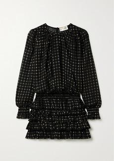 Saint Laurent Ruffled Glittered Flocked Silk-blend Chiffon Mini Dress