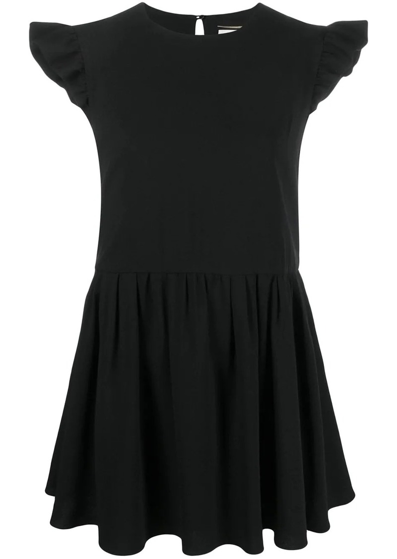 Saint Laurent ruffled sleeves short dress