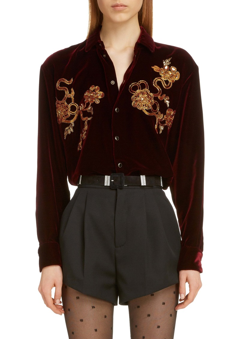 Saint Laurent Saint Lauren Embroidered Chinoiserie Velvet Shirt