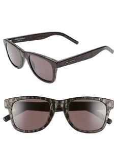 Saint Laurent 50mm Leather Wrapped Flat Top Sunglasses