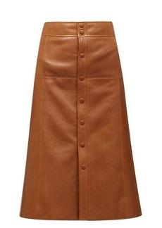 Saint Laurent A-line leather skirt