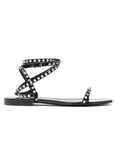 Saint Laurent Abbey studded wrap-around patent-leather sandals