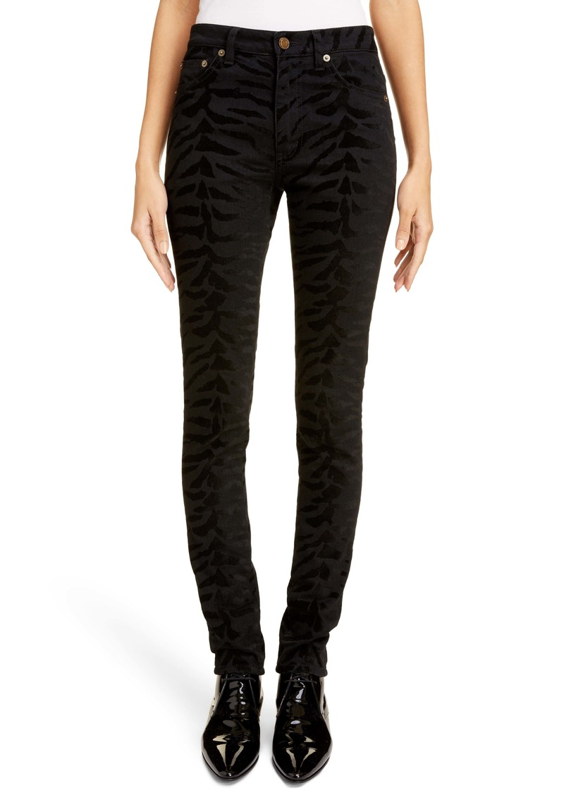 Saint Laurent Animal Pattern Skinny Jeans