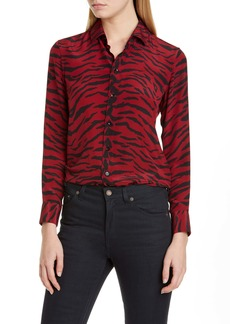 Saint Laurent Animal Print Silk Shirt