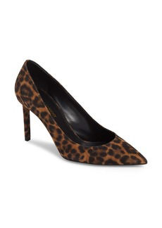 Saint Laurent Anja Leopard Print Pointy Toe Pump (Women)