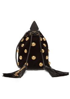 Saint Laurent Anja studded velvet bucket bag