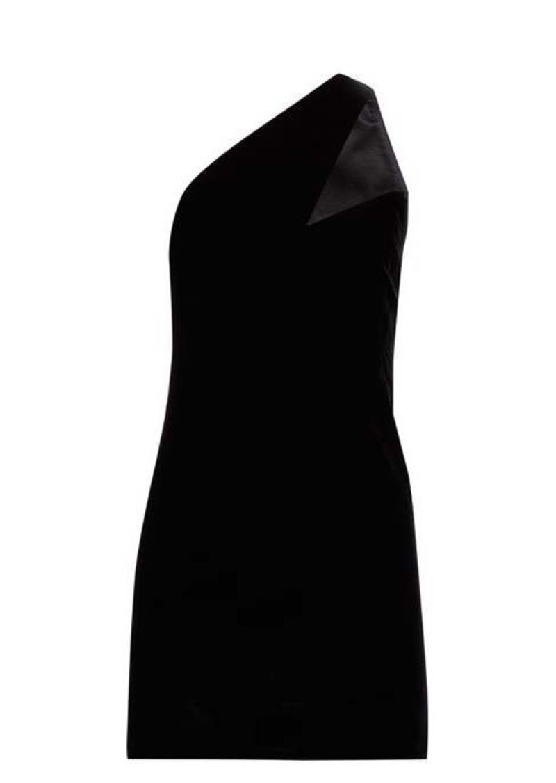 Saint Laurent Asymmetric-strap velvet mini dress