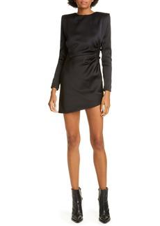 Saint Laurent Asymmetrical Long Sleeve Silk Satin Minidress