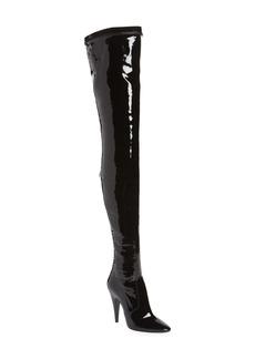 Saint Laurent Aylah Pointed Toe Thigh High Boot (Women) (Wide Calf)