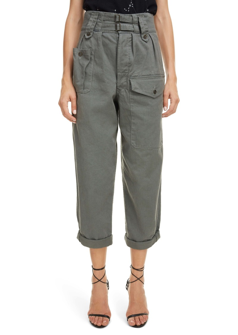 Saint Laurent Belted High Waist Cargo Pants