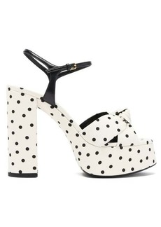 Saint Laurent Bianca knotted polka-dot platform sandals