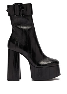 Saint Laurent Billy eel-skin ankle boots