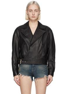 Saint Laurent Black Leather Oversized Motorcycle Jacket