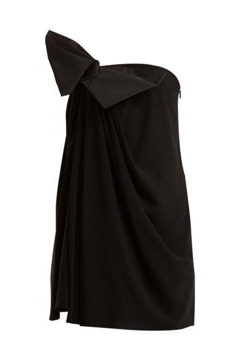 Saint Laurent Bow-embellished strapless crepe dress