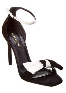 Saint Laurent Bow Front Leather & Suede Sandal