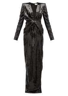 Saint Laurent Bow plunge-neck sequinned gown