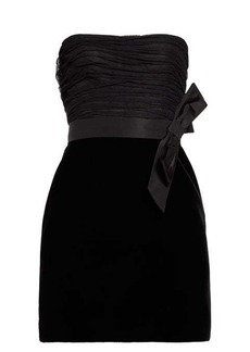Saint Laurent Bow-trim satin and crepe mini dress