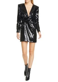 Saint Laurent Bow Waist Sequin Long Sleeve Dress